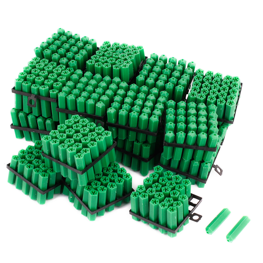 500 Pcs 6mm Dia Green Plastic Tube Inserts End Blanking Cap 28mm Long