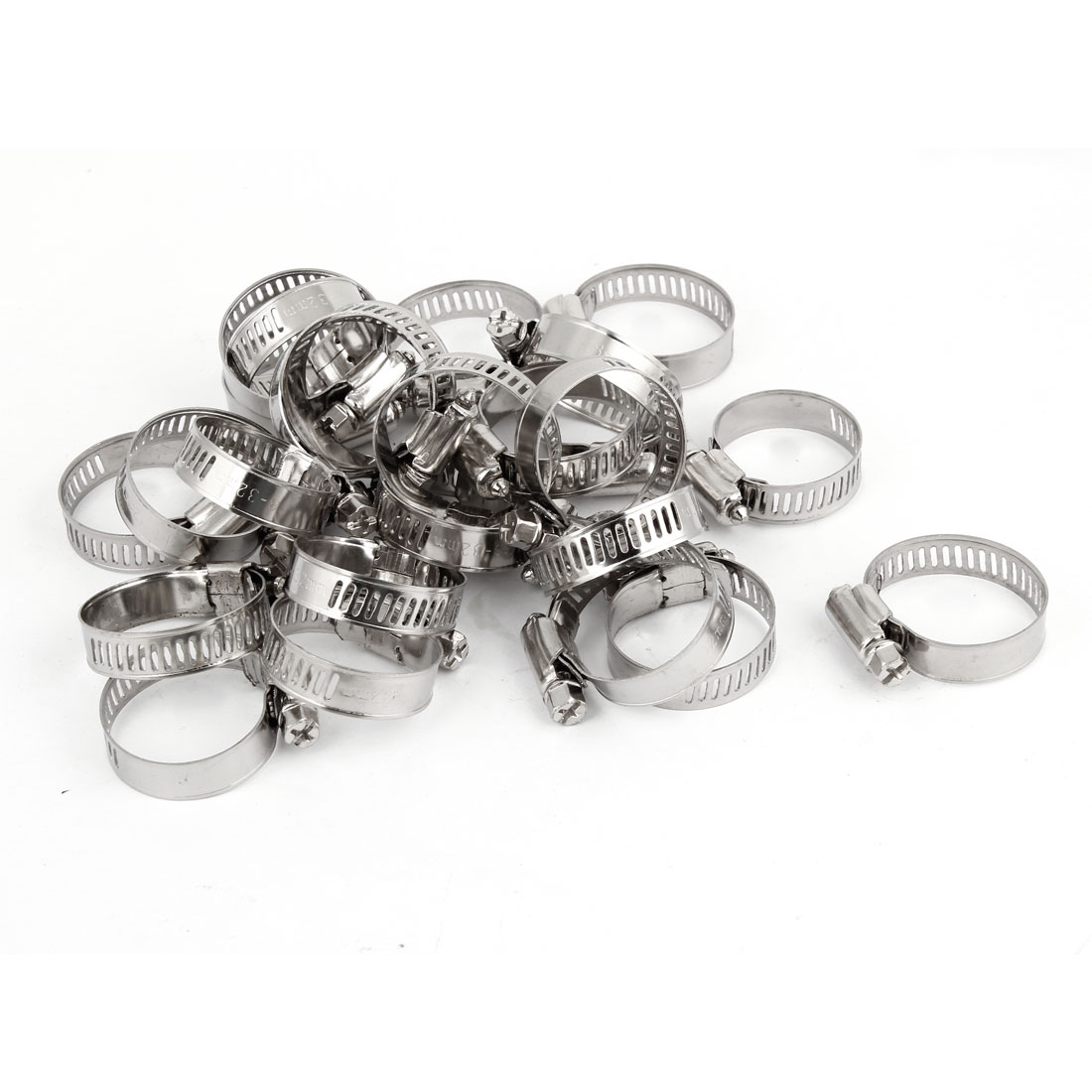 25 Pcs Adjustable 18-32mm Range 10mm Width Hardware Tool Worm Drive Hose Clamp