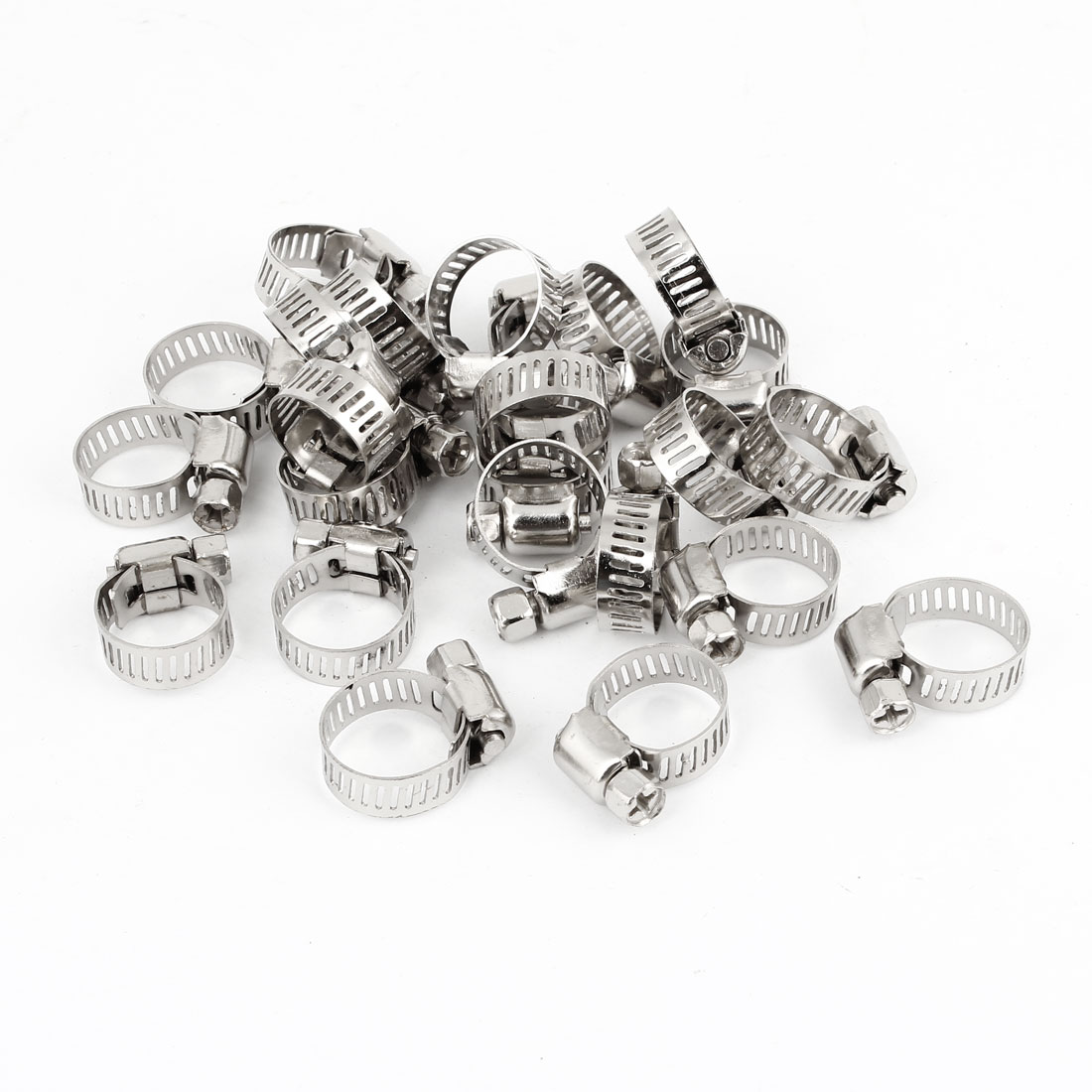 25 Pcs Silver Tone 10-16mm Adjustable Worm Drive Hose Clamps 8mm Width