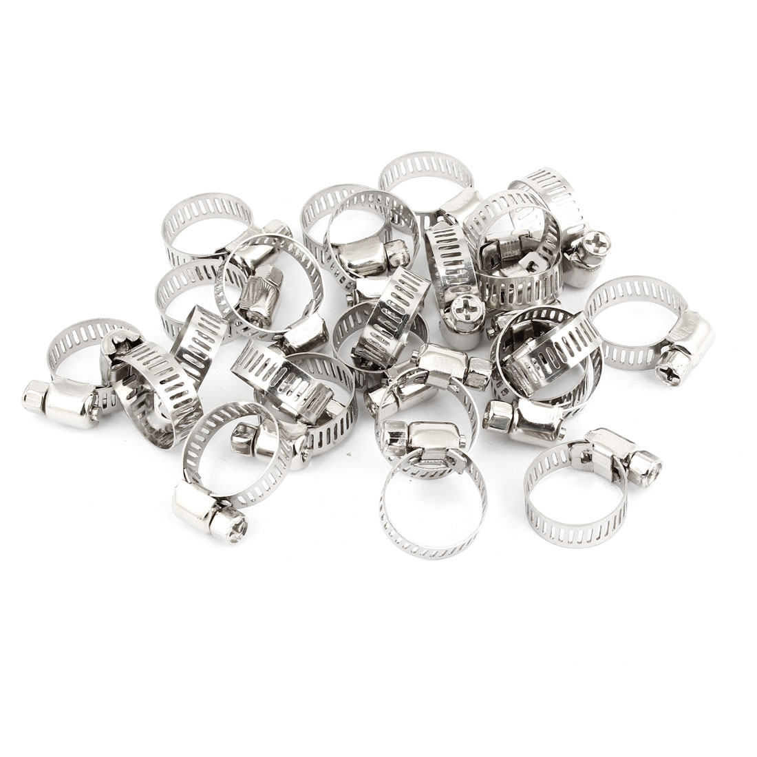 25 Pcs Stainless Steel Band Worm Gear Hose Clamp 13-19mm