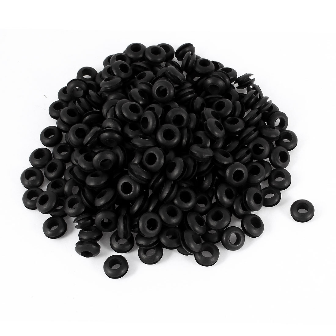 300 PCS 6mm x 12mm Double Sides Black Rubber Wiring Grommets Gasket Ring Cble Protector