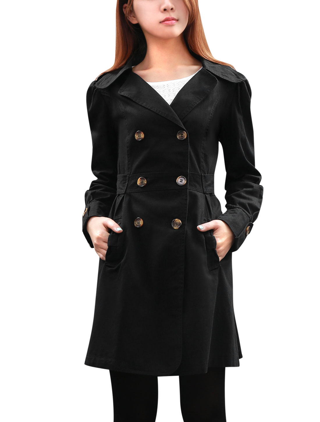 Women Self Tie Strap Button-tab Cuffs Cool Trench Jacket Black L