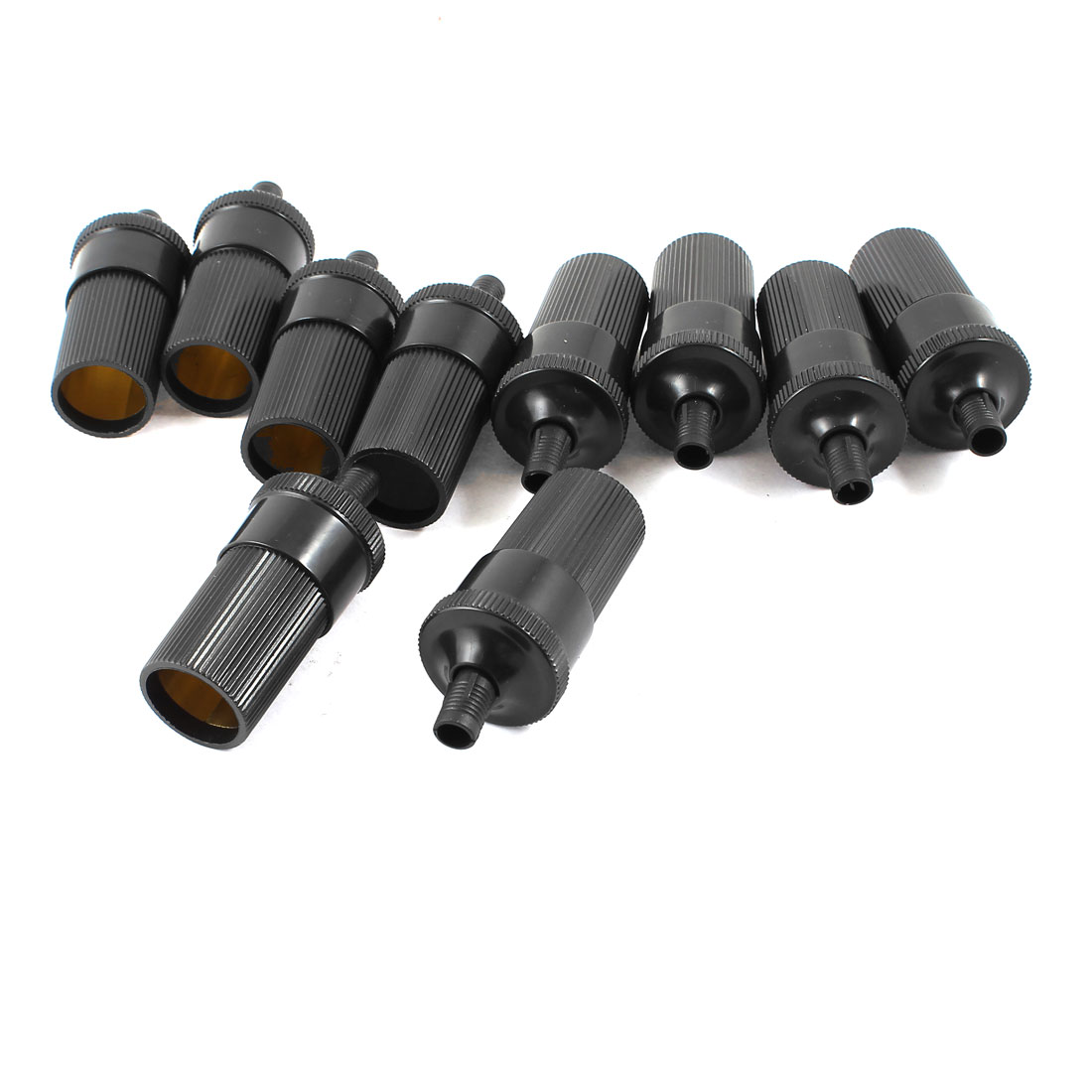 10 Pcs Plastic Housing Inline Car Cigarette Lighter Female Socket Black