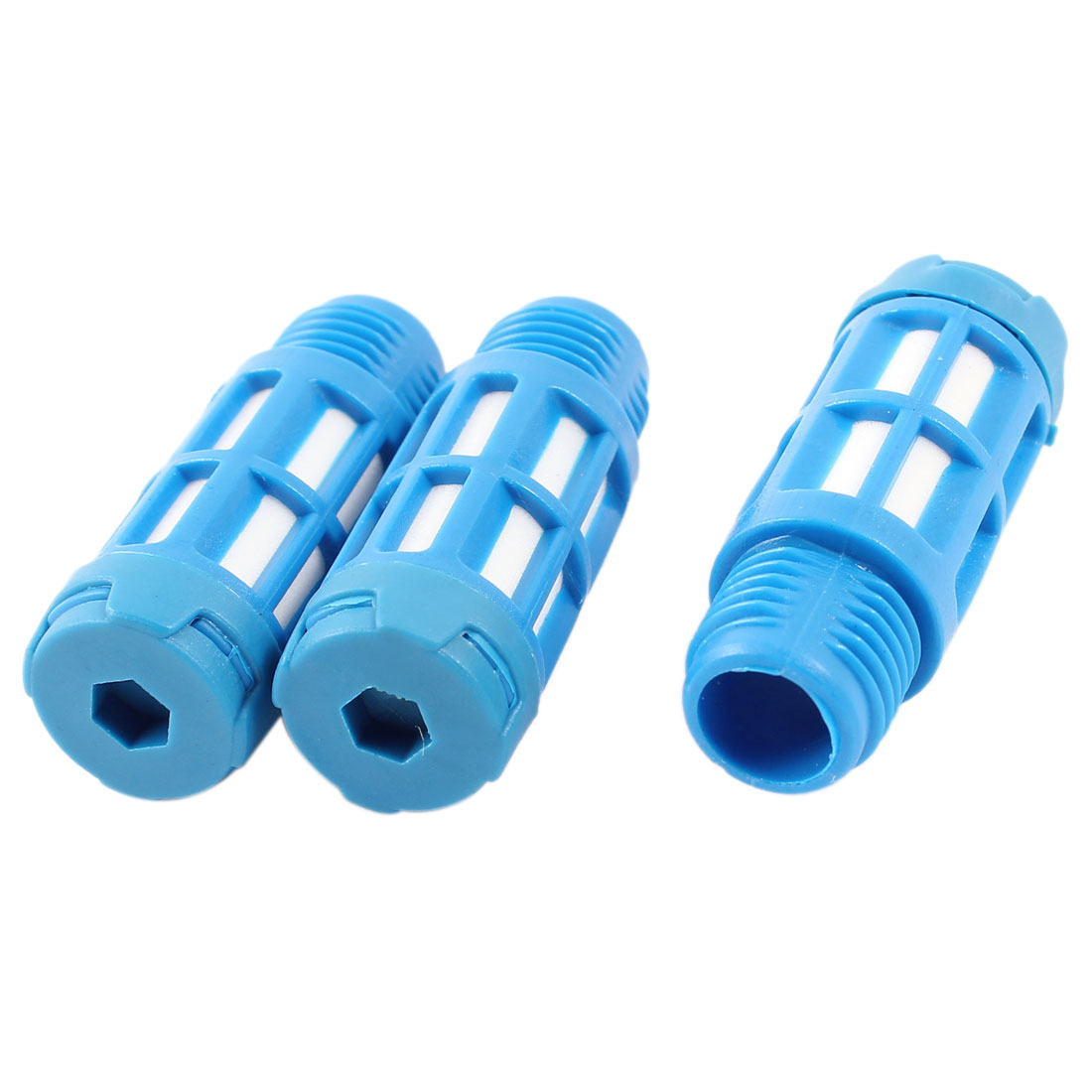 3 Pcs Blue Plassitc 1/4PT Thread Pneumatic Exhaust Noise Absorb Silencer Muffler