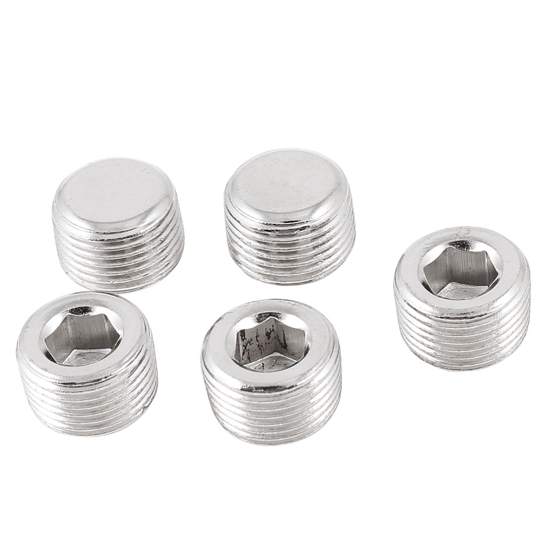 5Pcs Internal Hex Head Pneumatic Pipe Fittings Socket Caps 16mm 3/8PT Male Threaded