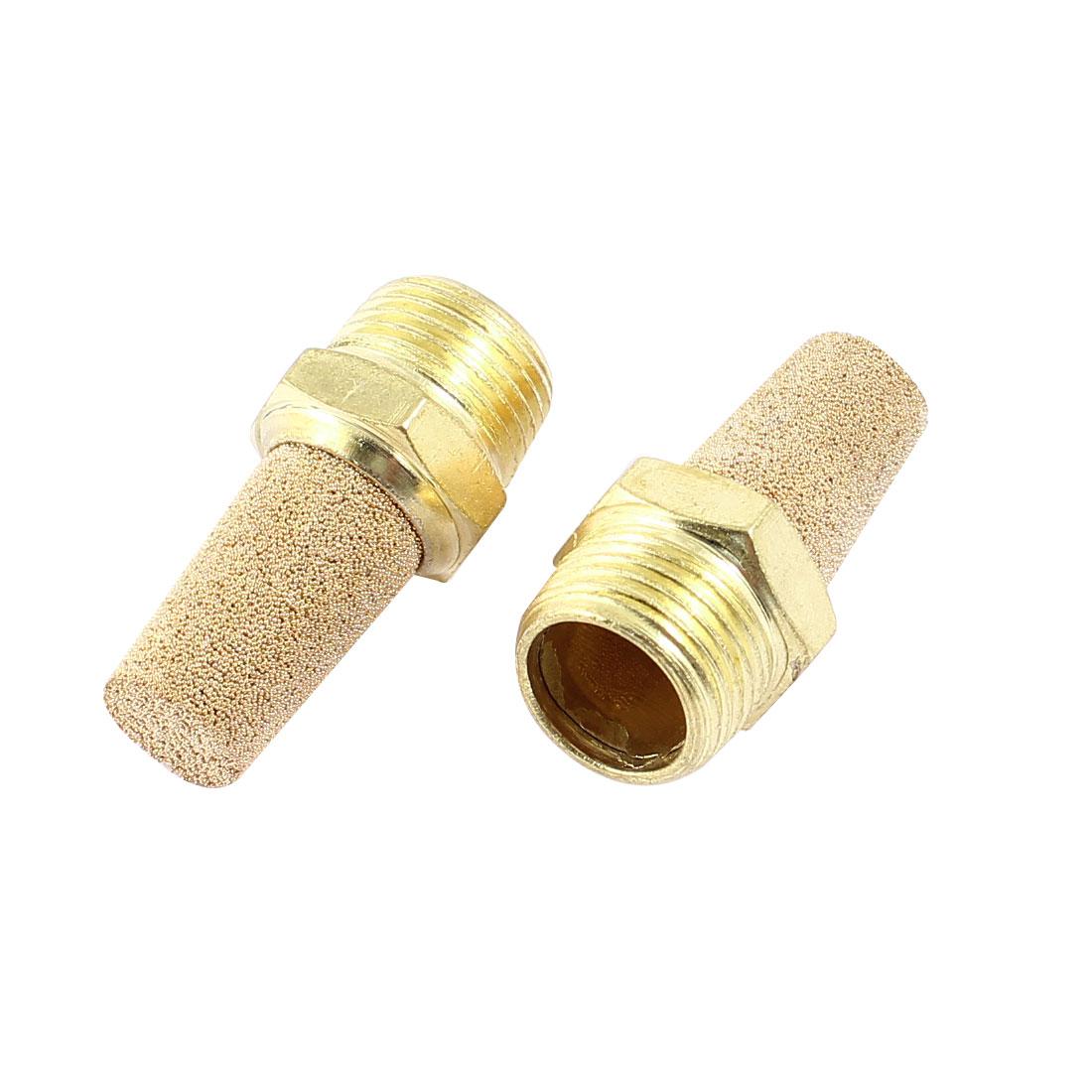 2 Pcs Brass 3/8PT Male Thread Noise Reducing Pneumatic Muffler Silencer Filter