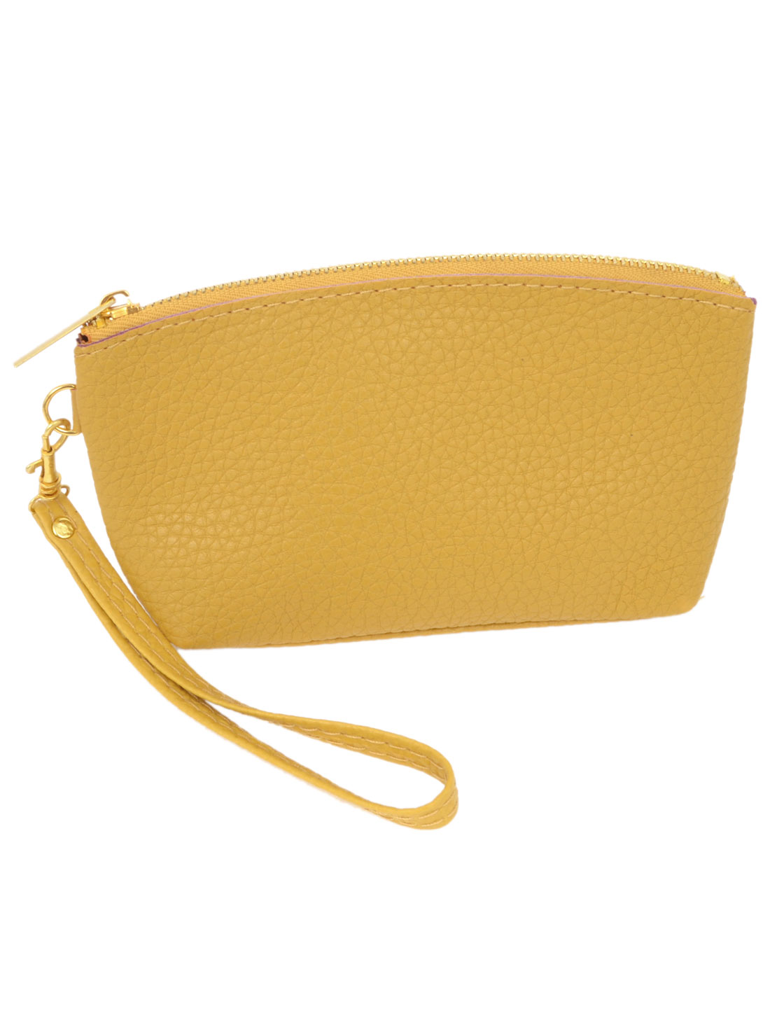 Women Yellow Faux Leather Litchi Pattern 3 Compartments Textured Purse w Strap