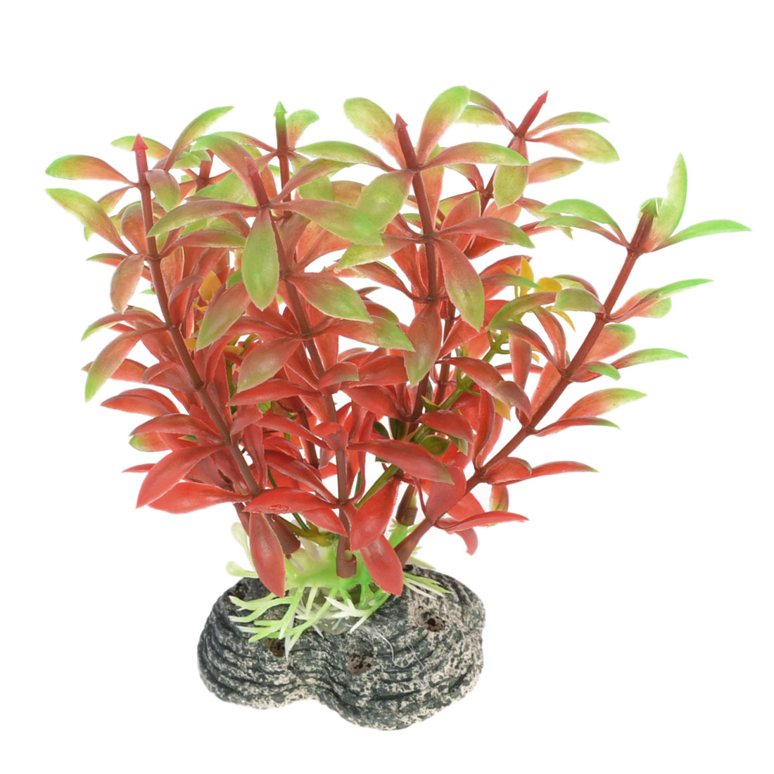 Aquarium 11cm Height Red Green Plastic Emulational Plant w Ceramic Base