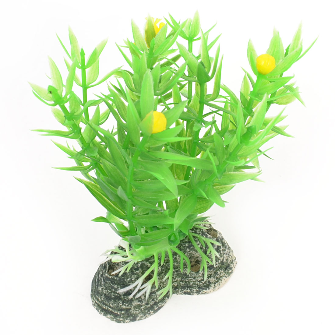Green Emulational 9cm Height Plant Grass w Ceramic Base for Aquarium