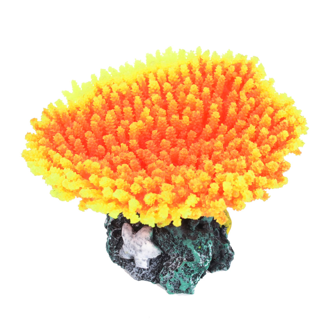 Fish Tank Orange Yellow Silicone Emulational Sea Anemone Coral Ornament 1.6""