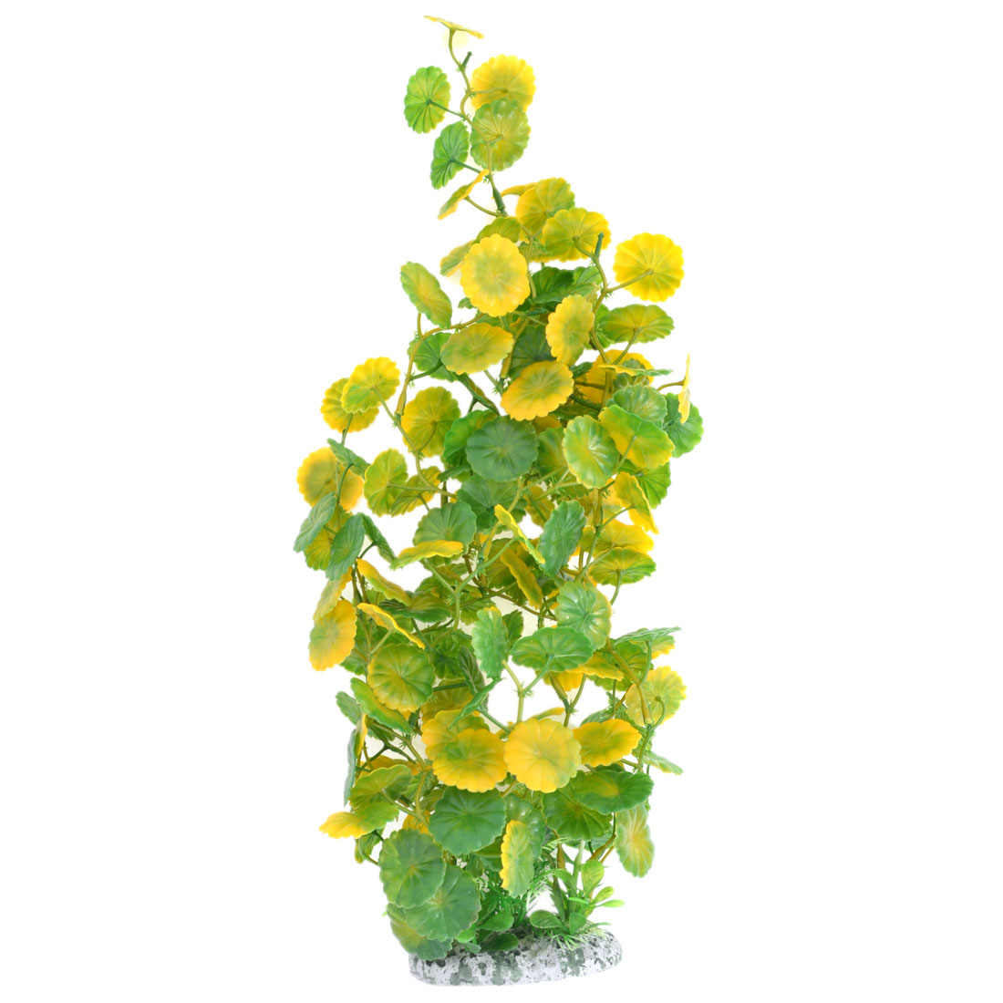 Green Yellow Artificial Fake Plastic Water Plant Ornament for Fish Tank