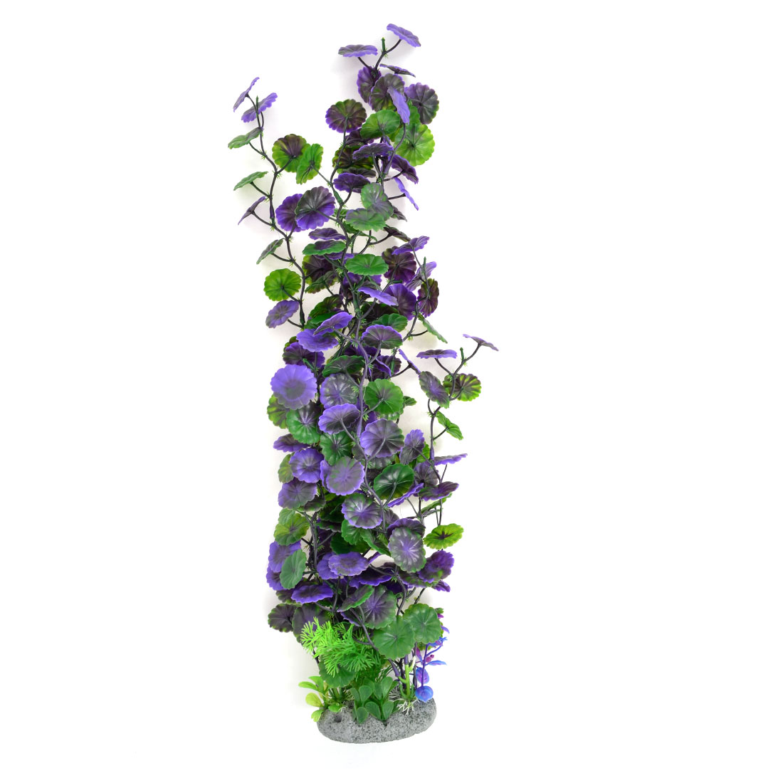 "Green Purple Emulational Plastic Water Plant Decor 21.3""High for Aquarium"
