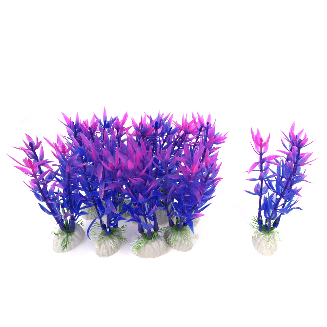 "10 Pcs Aquarium Landscaping 3.5"" Height Purple Blue Artificial Water Plant Decor"