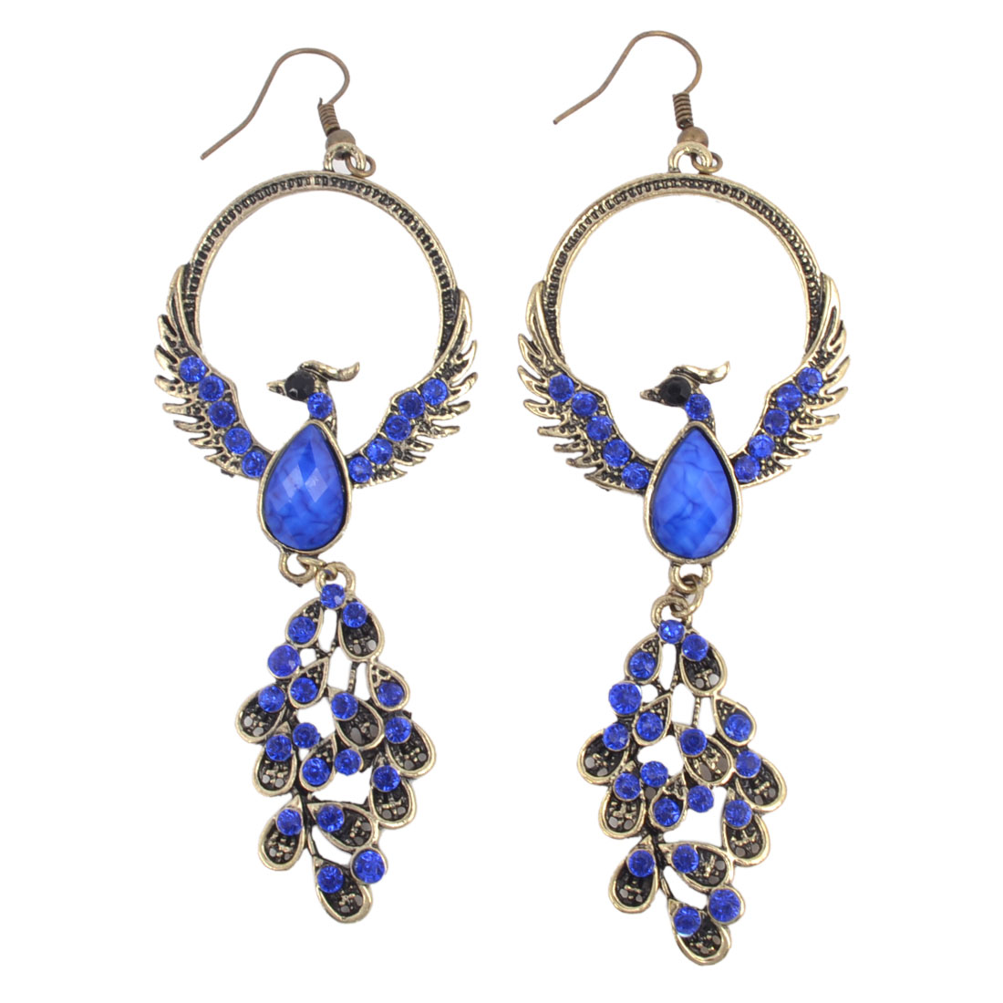 Women Dark Blue Faceted Beads Inlaid Chandelier Hook Earrings Bronze Tone Pair