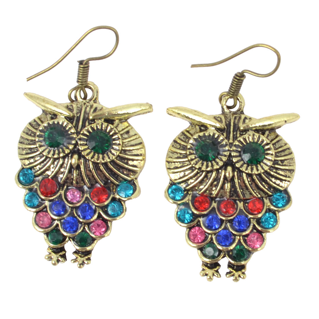 Women Colorful Plastic Beads Inlaid Bronze Tone Owl Dangling Hook Earrings Pair