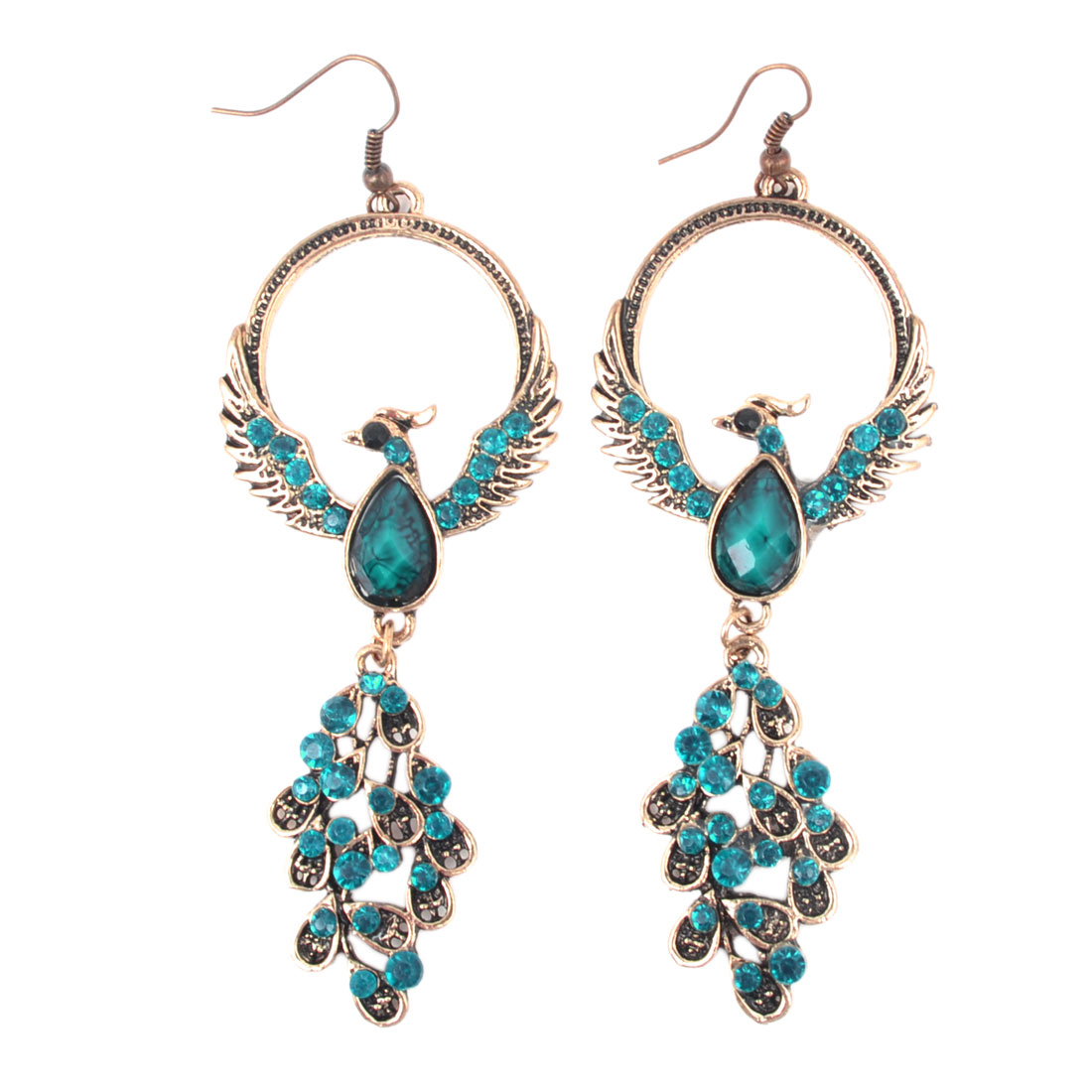 Women Teal Green Plastic Crystal Decor Phoenix Bird Dangling Hook Earrings Pair