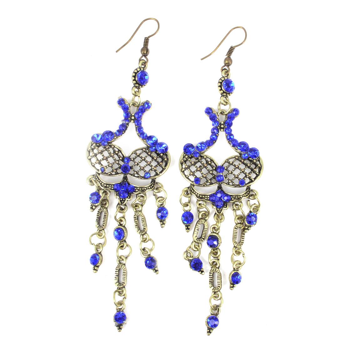 Pair Women Retro Chandelier Pendent Fish Hook Earrings Dark Blue Bronze Tone