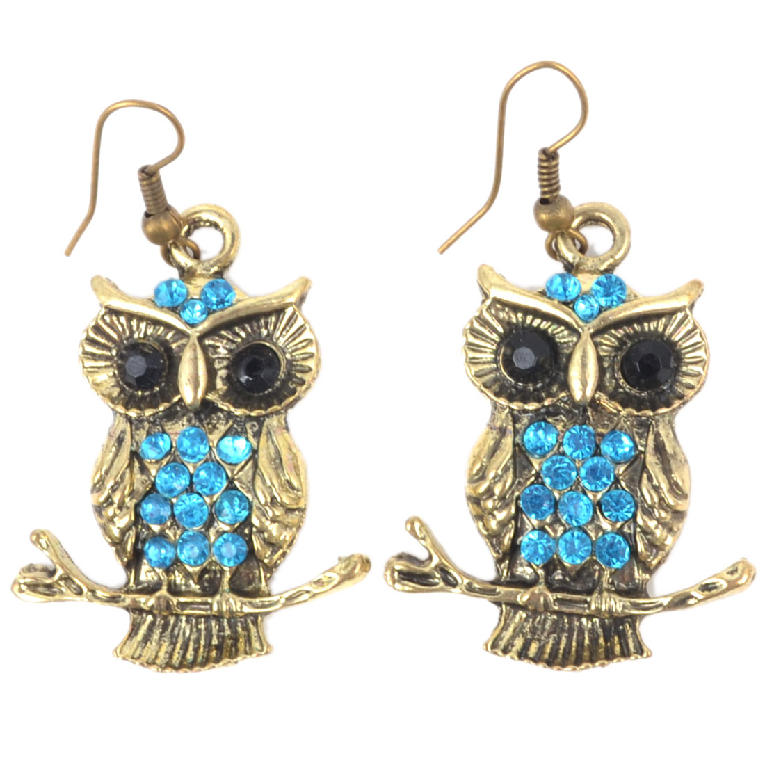 Women Blue Rhinestone Inlaid Metal Owl Chandelier Pendant Ear Hook Earrings Pair