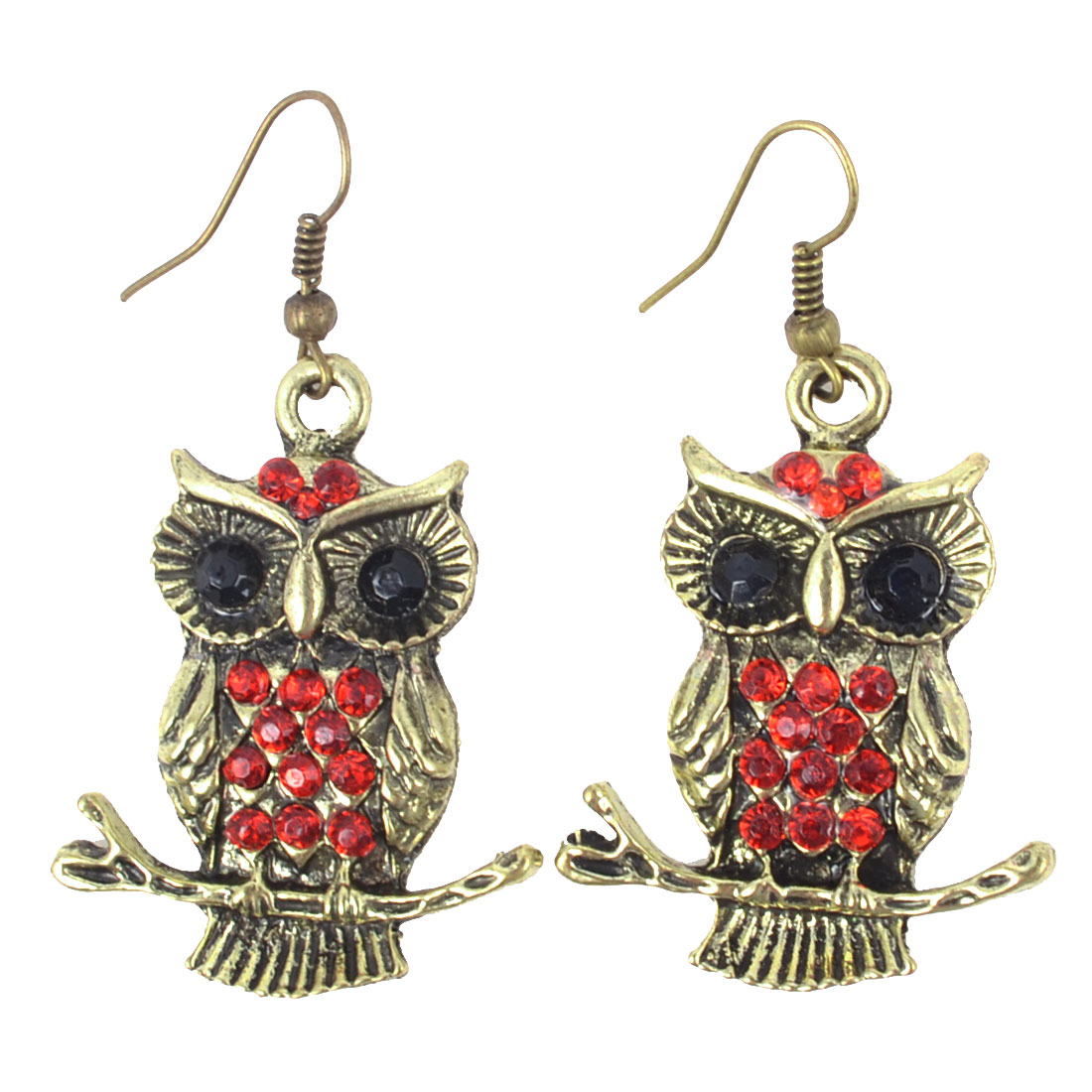 Woman Retro Style Red Beads Inlaid Metal Owl Fish Hook Earrings Bronze Tone Pair