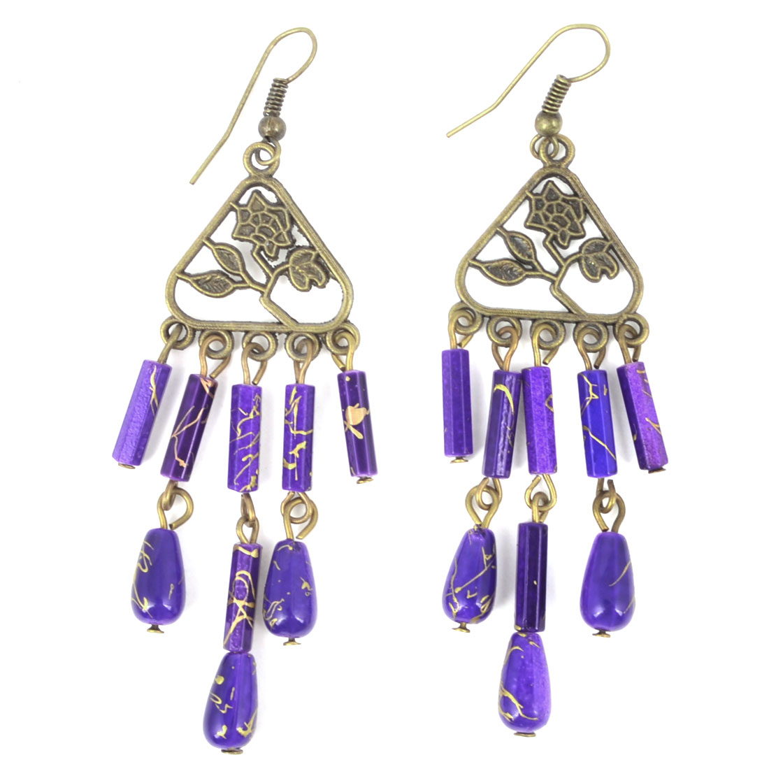Retro Style Chandelier Ornament Fish Hook Earrings Purple Bronze Tone for Lady