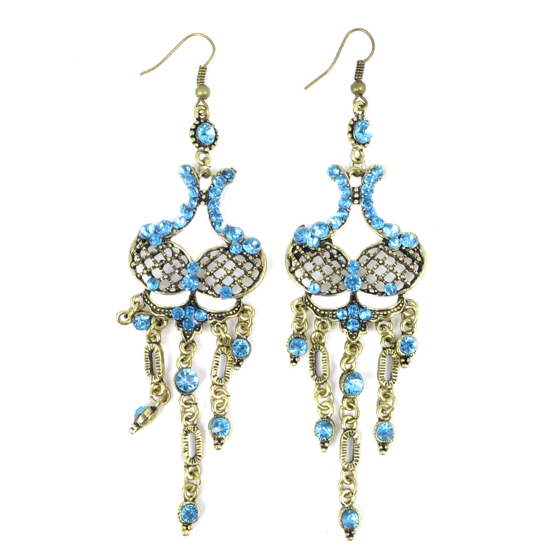 Pair Blue Rhinestone Intail Retro Style Pendent Fish Hook Earrings for Lady