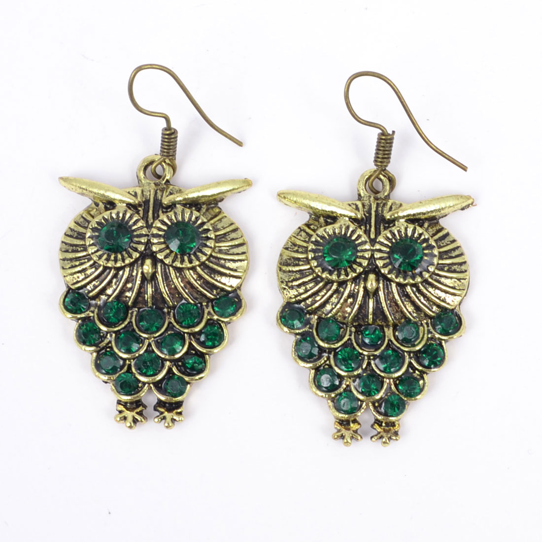 Pair Green Rhinestone Inlaid Metal Owl Fish Hook Earrings Eardrop for Lady