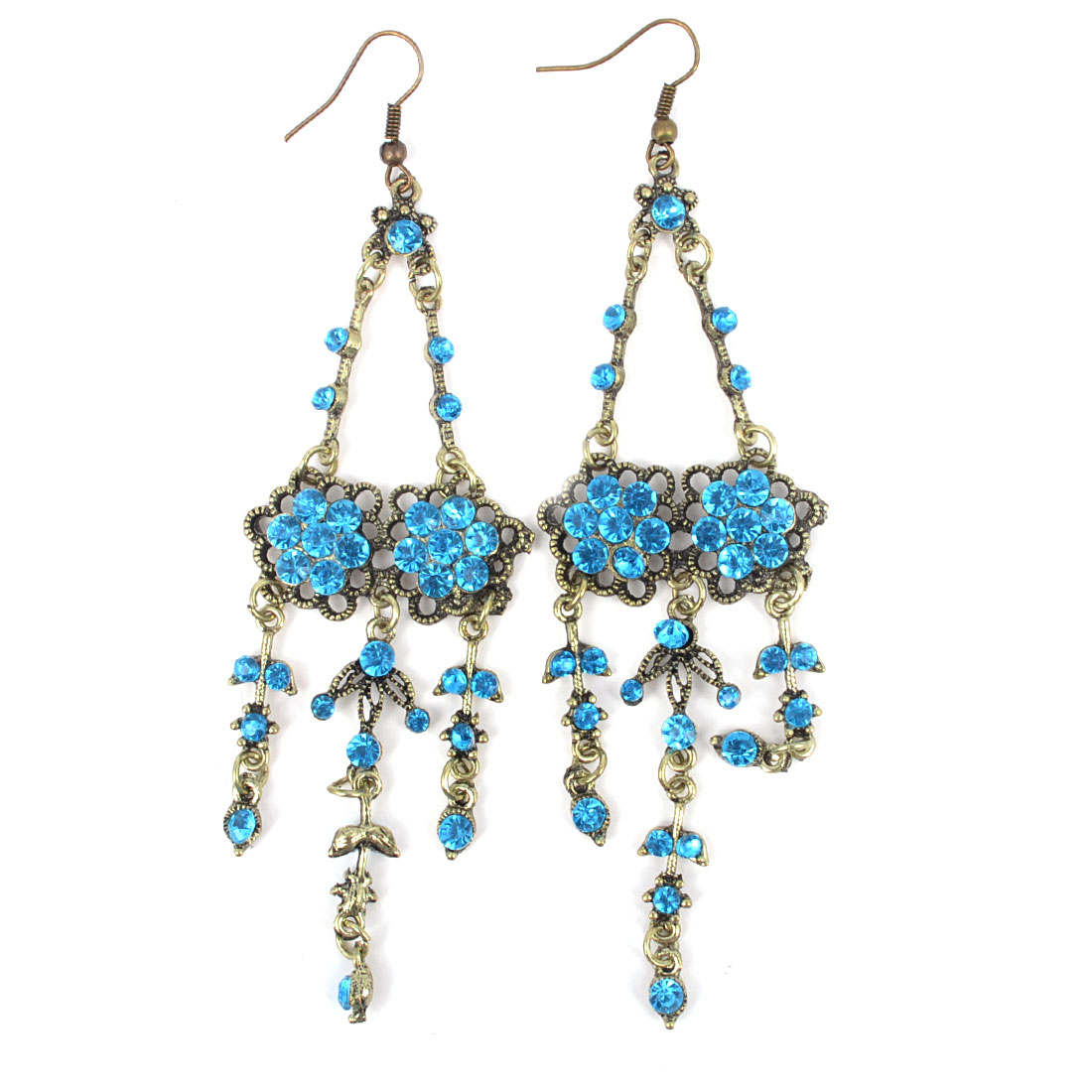 Pair Blue Rhinestone Accent Bronze Tone Flower Shape Fish Hook Earrings for Lady