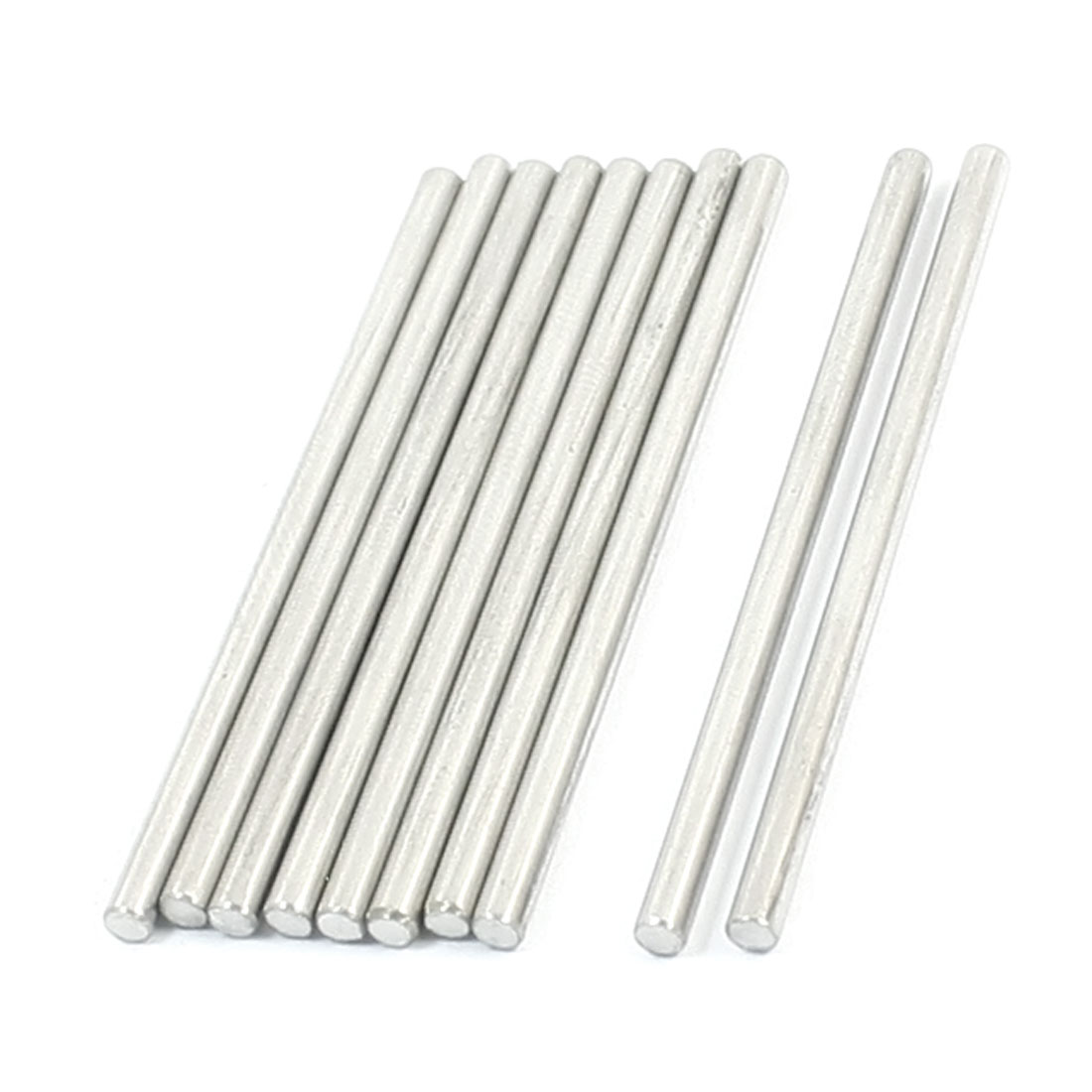 10pcs Silver Tone Stainless Steel 50 x 2.5mm Round Rod Shaft for RC Model