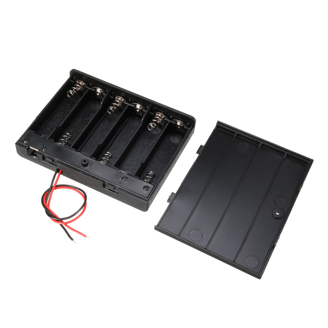 Electrical Battery Holder Box Case Lead 6 x 1.5V AA Black w Cap
