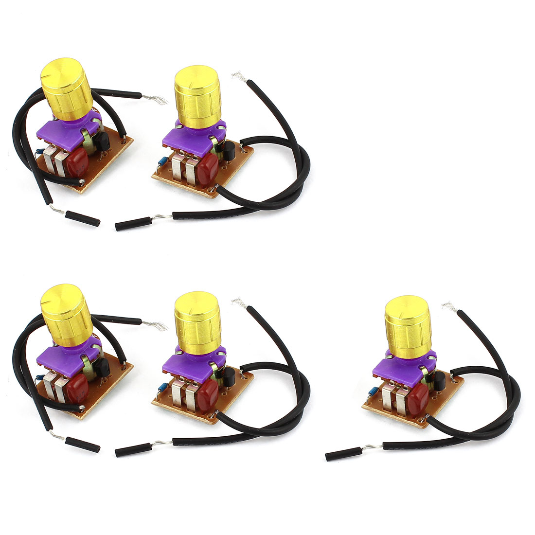 5pcs Gold Tone 14mm Dia Rotary Knob Control Dimmer Switch AC220V 1-3A