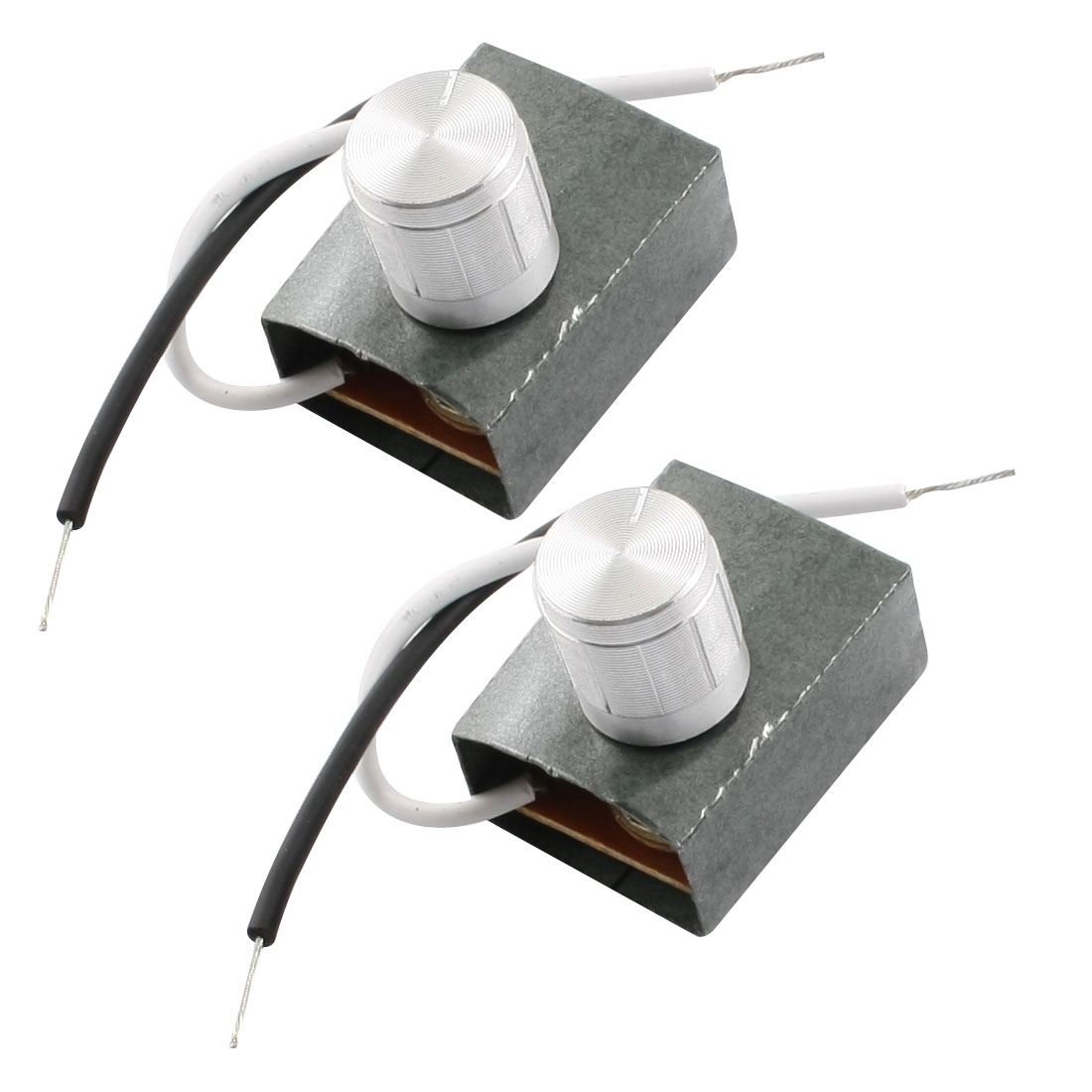 2pcs 3A 220V Rotary Knob Lamp Dimmer Control Dimming Switch Silver Tone