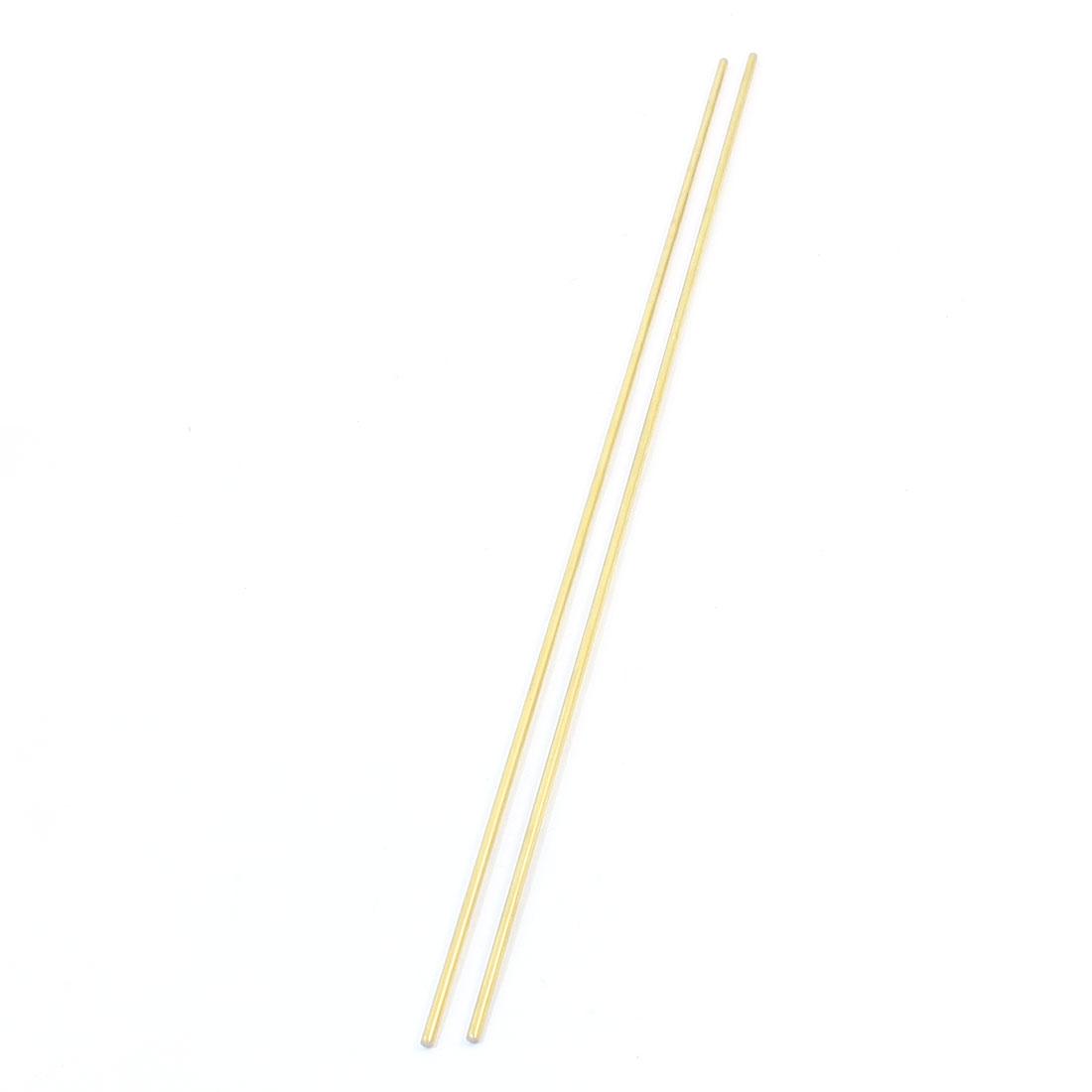 2Pcs CNC Machining Gold Tone Brass Round Bar Rods 450mm x 3mm