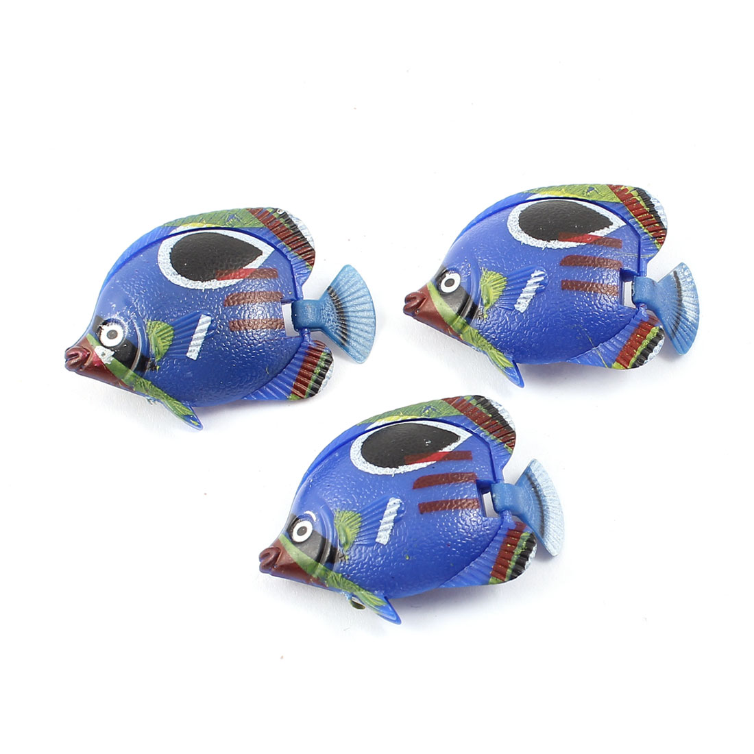 3pcs Movable Floating Tail Tropical Fish Ornament Dark Blue for Aquarium