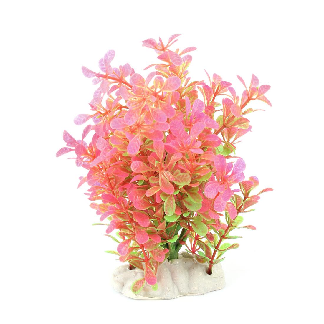 "Aquarium Hot Pink Green Manmade Underwater Plant Ornament 8.3"" High"