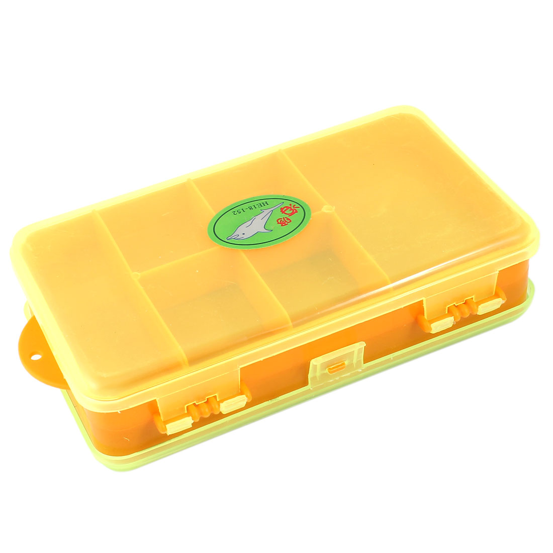 Clear Orange Rectangle Plastic Case Box w 5 Fishing Line Spools Bobbins