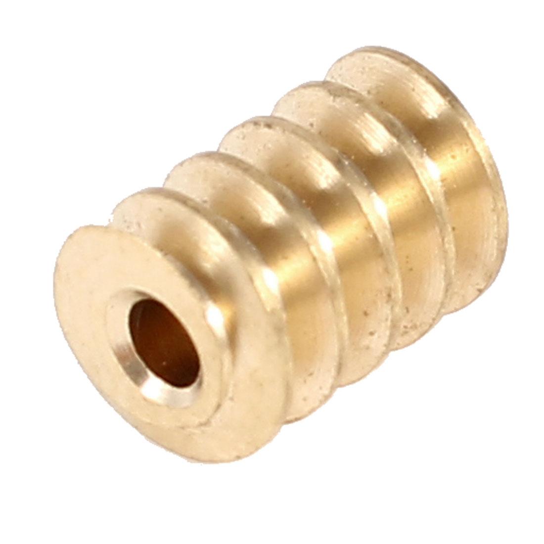 M0.5x8T 8 Teeth 2mm Dia Shaft Hole DC Gearbox Motor Worm Gear Gold Tone