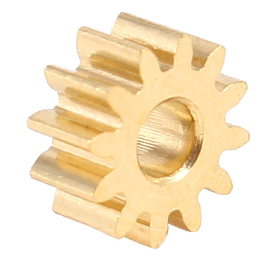 M0.4x12T 12 Teeth 2mm Dia Shaft Hole DC Gearbox Motor Drive Gear Gold Tone