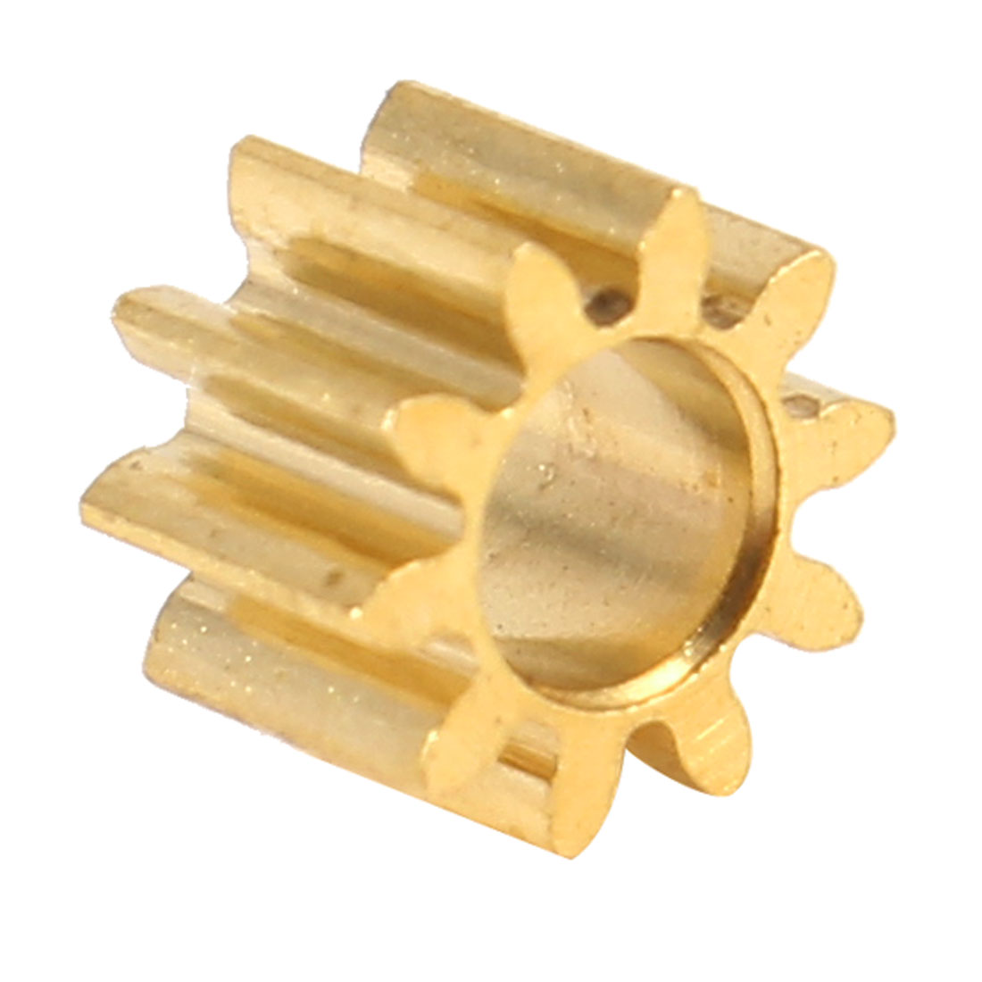 M0.5x10T 10 Teeth 3mm Dia Shaft Hole Speed Reducing Gearbox Motor Gear Gold Tone