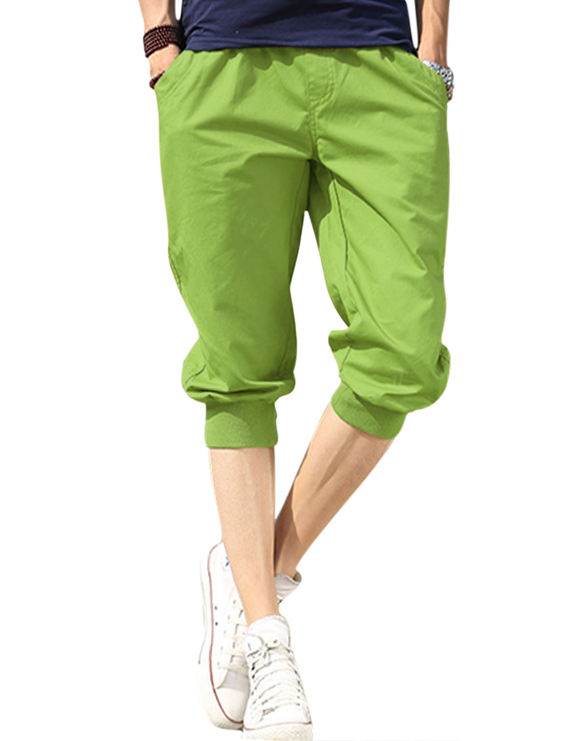 Man Front Slant Pockets Summer Fit Casual Capris Green W30