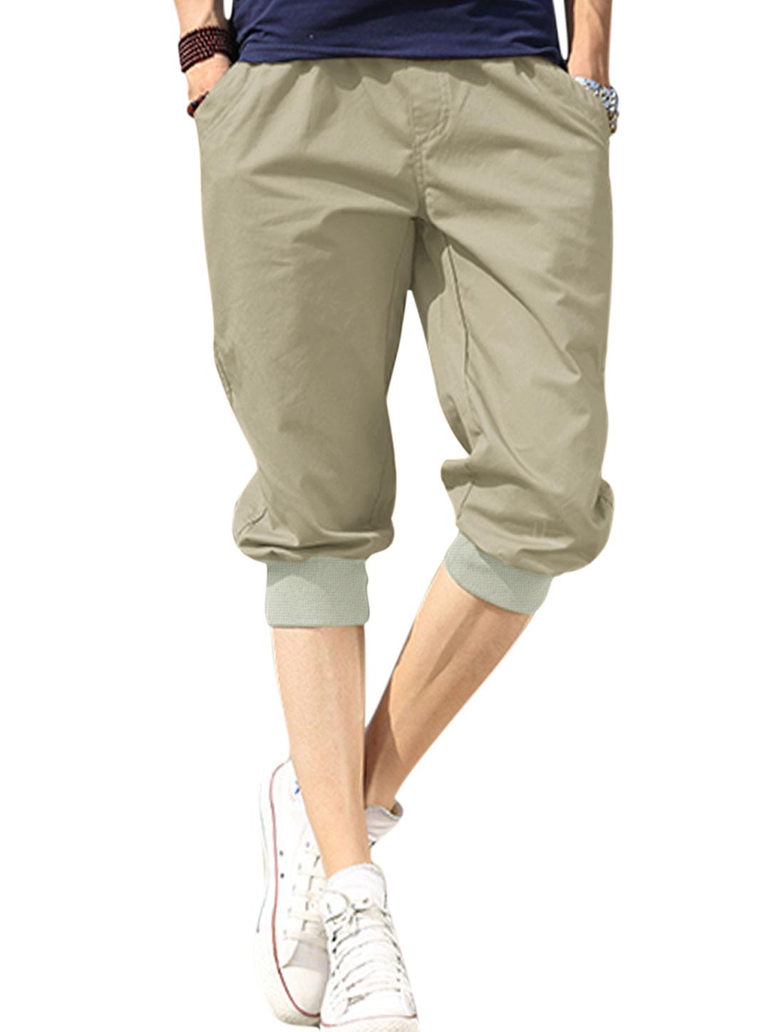 Man's Elastic Waist Front Slant Pockets Mid Rise Capris Beige W30
