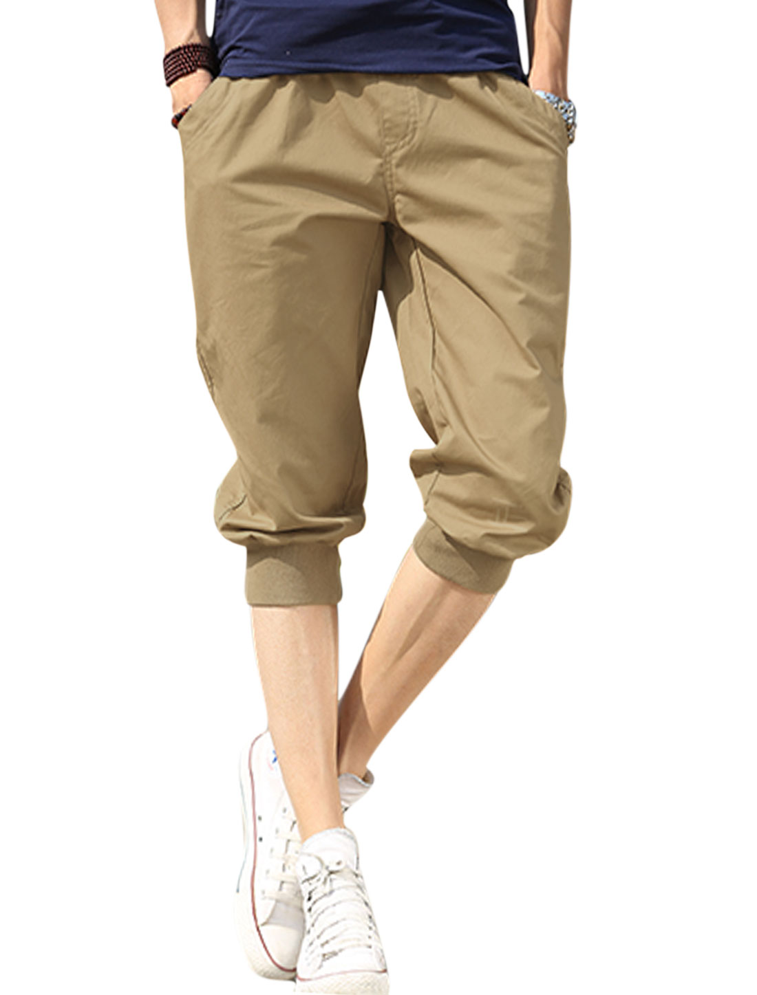 Men Drawstring Waist Slant Pockets Ribbed Cuffs Capris Khaki W30