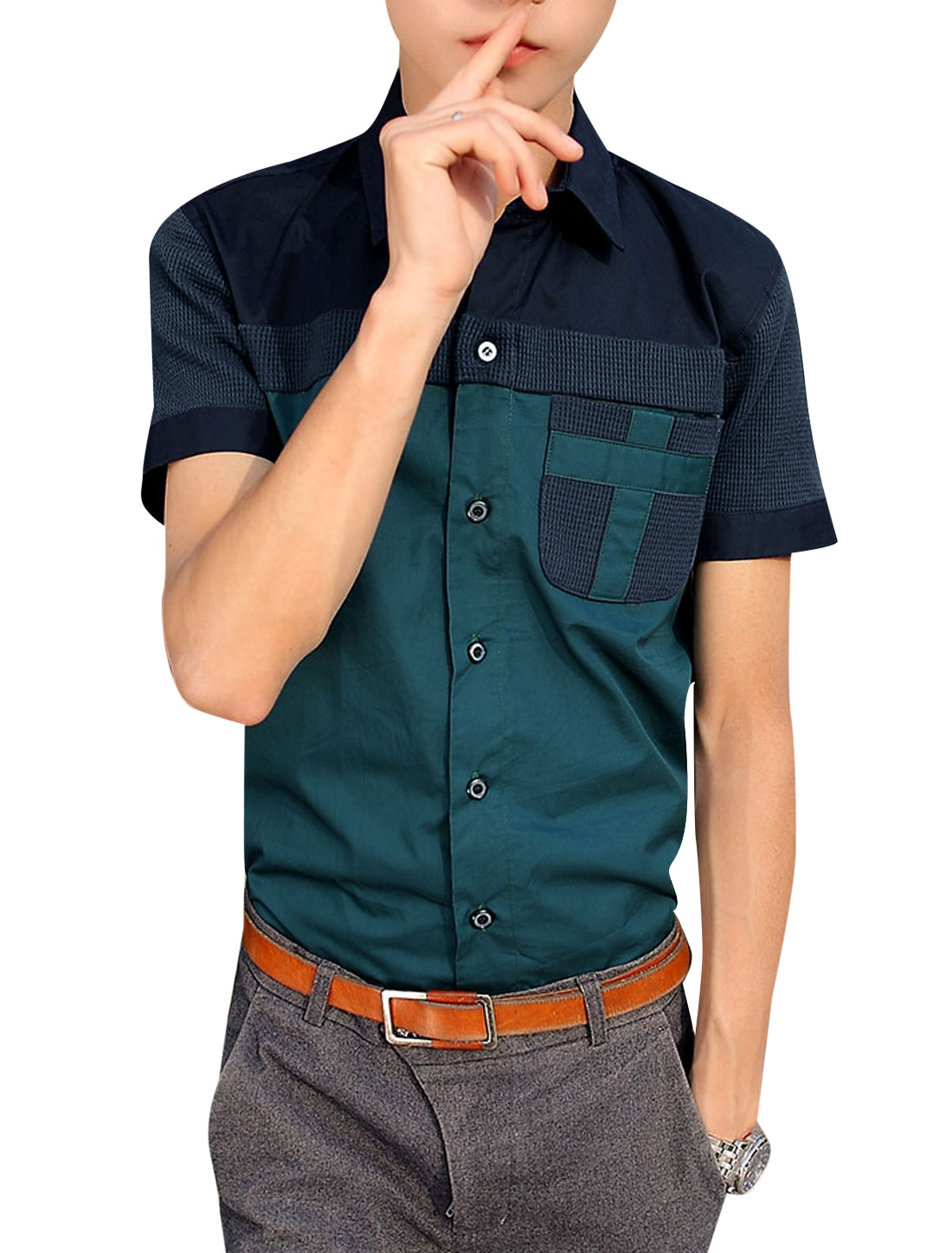Men Leisure Button-Up Breast Pocket Two Tone Top Shirt Dark Green S