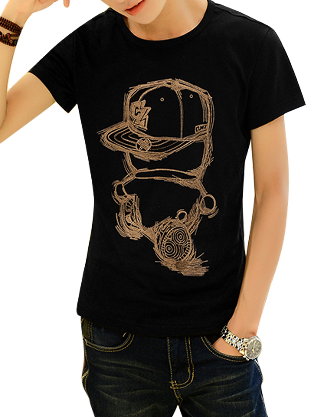 Short Sleeve Cartoon Prints T-Shirt for Men Black S