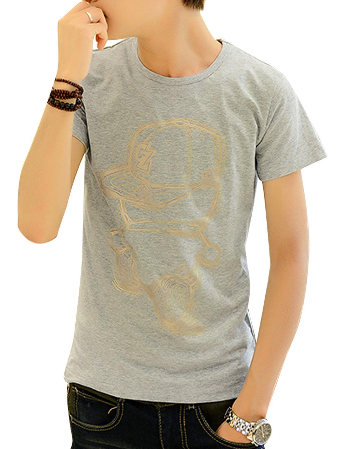 Soft Short Sleeve Cartoon Prints T-Shirt for Men Light Gray S