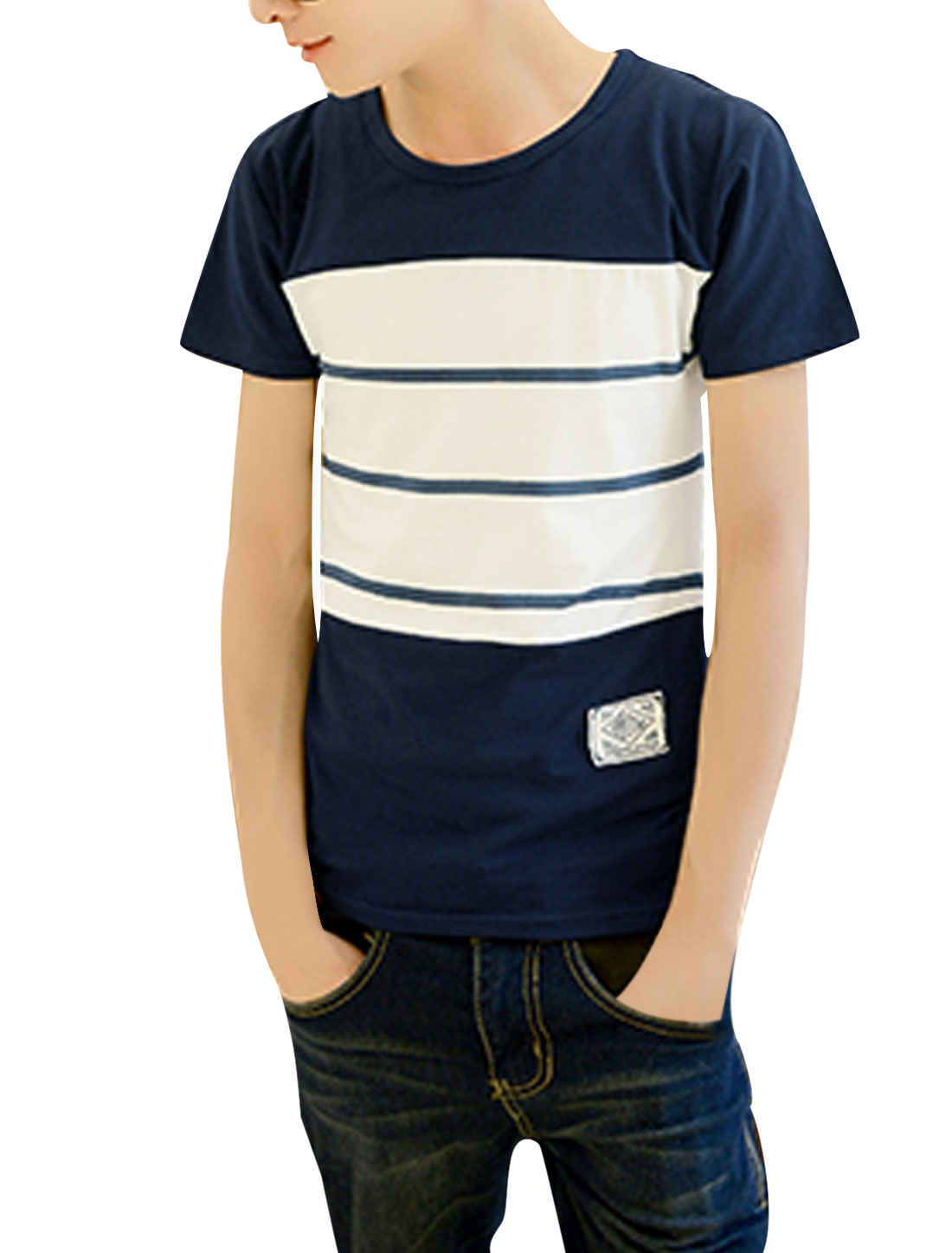 Men Short Sleeve Stripes Colorblock Trendy Slim Tee Navy Blue White M