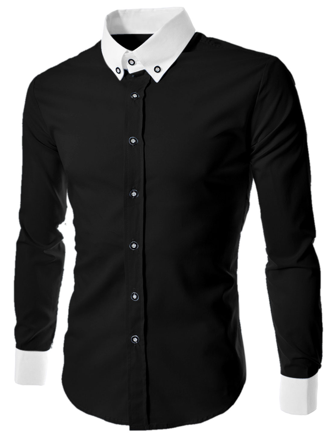 Men Convertible Collar Button Down Contrast Collar Cuffs Shirt Black M