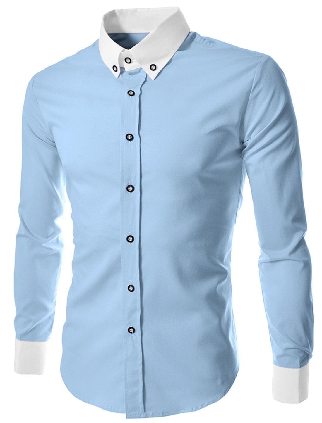 Men Button Closure Contrast Collar Cuffs Long Sleeve Shirt Light Blue M