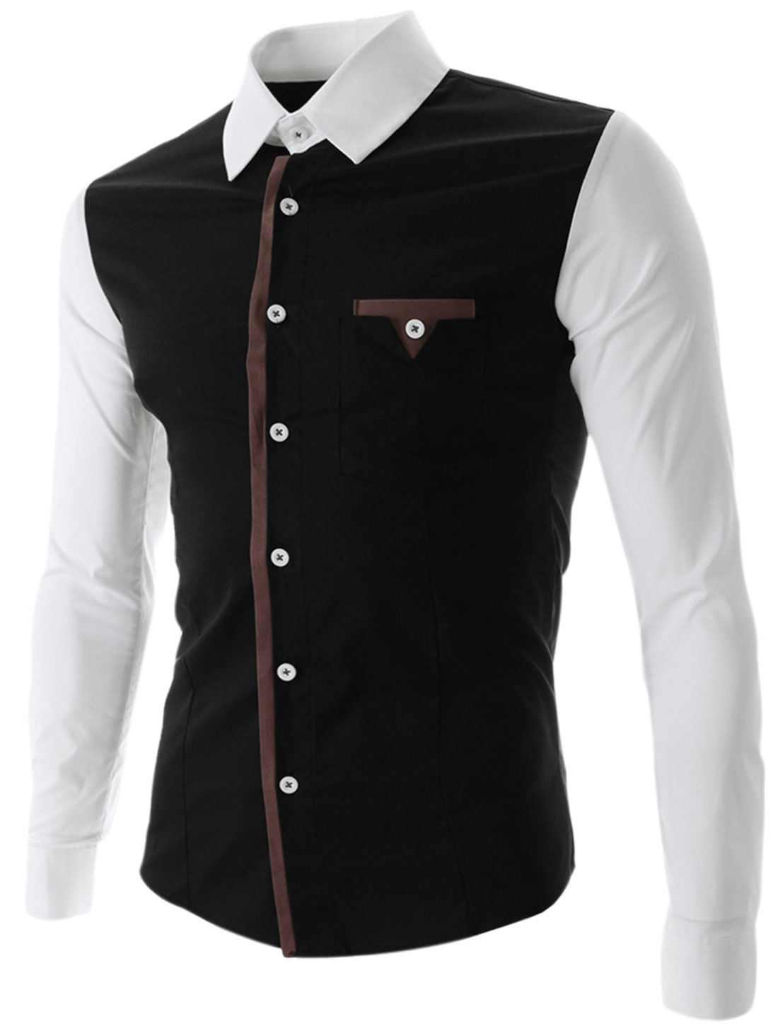 Man Single Breasted Chest Pocket Contrast Collar Sleeves Shirt Black M
