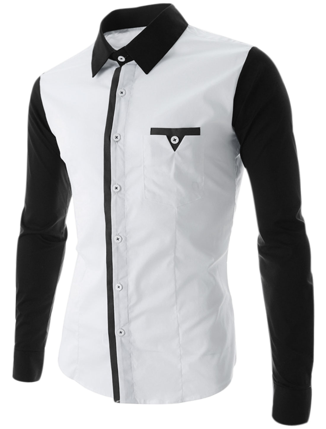 Man Button Closure Point Collar Chest Pocket Casual Shirt White M
