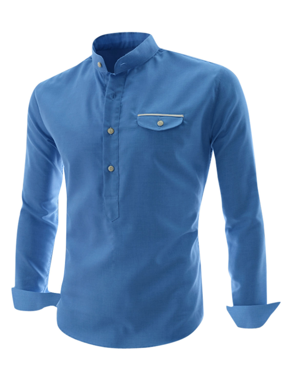 Men Stand Collar 1/2 Placket Buttons Cuffs Casual Shirt Blue M